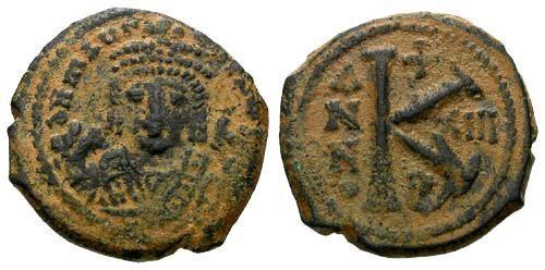 Ancient Coins - VF/VF Maurice Tiberius Half Follis