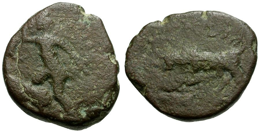 Ancient Coins - Tauric Chersonesos.  Chersonesos Imitative Æ20 / Artemis Spearing Stag / Bull