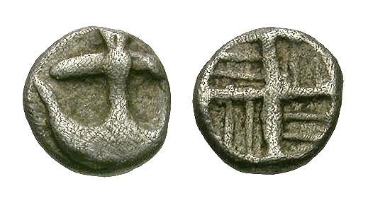 Ancient Coins - Danubian District.  Apollonia Pontica AR Tetartemorion / Anchor and Swastika