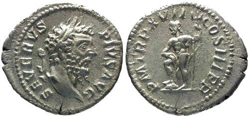 Ancient Coins - EF/EF Septimius Severus Denarius / Neptune