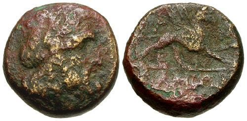Ancient Coins - gF/gF Epeiros Ambrakia Æ18 / Zeus and Griffin