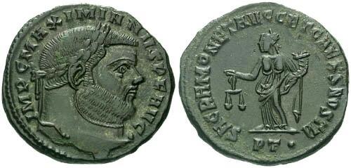 Ancient Coins - EF/aEF Maximianus Large Follis / Moneta