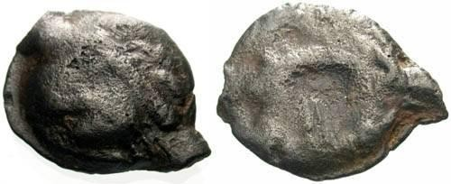 Ancient Coins - aF/aF Leuci Tribe Potin / Wild Man & Boar
