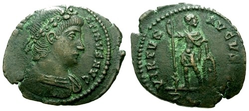 Ancient Coins - VF/VF Constantine II as Augustus AE3 / Virtus