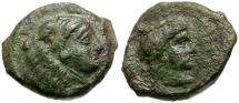 Ancient Coins - Sicily. Thermai Æ15 / Hera and Herakles