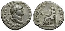 Ancient Coins - Vespasian AR Denarius / Pax Seated