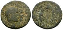 Philip I with Philip II.  Judaea. Neapolis Æ26 / Male and Female Figures Before Mt. Gerazim