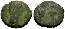 Ancient Coins - F/F Augustus, Corinth Æ20 / Gaius and Lucius