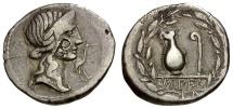 Ancient Coins - 81 BC - Roman Republic.  Q. Caecilius Metellus Pius AR Denarius / Pietas / Jug and Lituus Wand