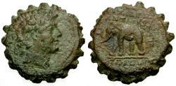 Ancient Coins - VF/VF Seleukid Kings of Syria, Antiochos VI Demetrios Æ21 Serrate / Elephant