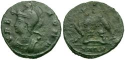 Ancient Coins - Constantine I the Great. Constantinople Commemorative Æ3 / Wolf and Twins