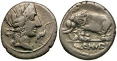 Ancient Coins - 81 BC - Roman Republic. Q. Caecilius Metellus Pius AR Denarius / Elephant