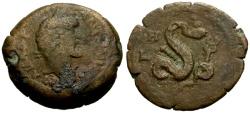 Ancient Coins - gF/gF Antoninus Pius, Egypt Alexandria Æ Diobol / Agathodaemon