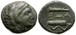 Ancient Coins - Kings of Macedon.  Alexander III The Great Posthumous Issue Æ16 / Club Bow with Quiver