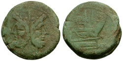 Ancient Coins - 206-195 BC - Roman Republic Æ AS / Rostrum Tridens Series