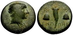 Ancient Coins - EF/EF Paphlagonia, Sinope Æ17 / Perseus / Cornucopiae and Caps of the Dioscuri