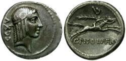 Ancient Coins - 67 BC - Roman Republic. C. Calpurnius L.f. Frugi AR Denarius / Horse and Rider