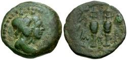 Ancient Coins - Laconia. Lakedaimon (Sparta) Æ17 / Dioscuri
