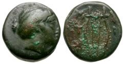 Ancient Coins - Lesbos. Mytilene Æ12 / Kithara
