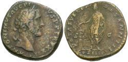 Ancient Coins - Antoninus Pius (AD 138-161) Æ Sestertius / Emperor Sacrificing