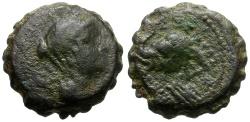 Ancient Coins - Seleukid Kings. Antiochos IV Epiphanes. Serrate Æ15  / Elephant