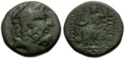 Ancient Coins - Seleucis and Pieria. Antiochia ad Orontes Æ19 / Zeus