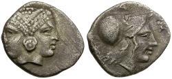 Ancient Coins - Mysia. Lampsakos AR Diobol / Janiform