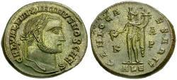 Ancient Coins - Maximinus II as Caesar Æ Silvered Follis / Genius