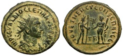 Ancient Coins - Diocletian Æ Post-reform Radiate / Jupiter and Hercules