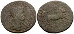 Ancient Coins - Philip I, Cilicia Tarsos Æ34 / Selene Driving Biga of Bulls