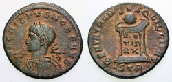 Ancient Coins - VF/VF Crispus Caesar Æ3 / Globe on Altar