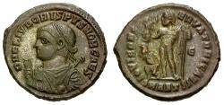Ancient Coins - EF/EF Crispus Caesar Æ3 / Jupiter