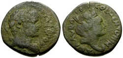Ancient Coins - Caracalla, Mesopotamia Carrhae Æ20 / Bust of Tyche