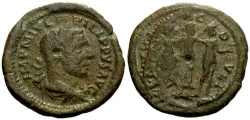 Ancient Coins - VF/aVF Philip I Thrace Deultum Æ24 / Three Graces