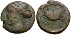 Ancient Coins - Bruttium. Terina Æ17 / Crab