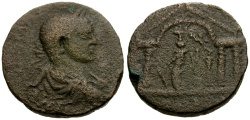 Ancient Coins - Elagabalus, Phoenicia, Akko-Ptolemais Æ23 / Tyche in Temple