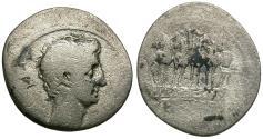 Ancient Coins - Octavian, as Sole Imperator (31-27 BC). AR Denarius / Actian Arch