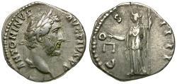 Ancient Coins - Antoninus Pius (AD 138-161) AR Denarius / Aequitas