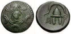 Ancient Coins - Macedon.  Anonymous Issue Æ15 / Shield Decorated with Herakles