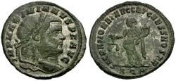 Ancient Coins - Maximianus Silvered Æ Follis / Sacra Moneta