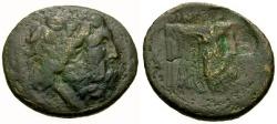 Ancient Coins - gF+/gF+ Akarnania, Oiniadai Æ22 / Zeus / Man-headed Bull