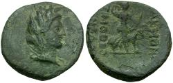 Ancient Coins - Phrygia. Akmoneia Æ21 / Artemis and Stag