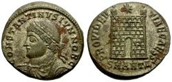 Ancient Coins - Constantine II as Caesar Silvered Follis / Camp Gate