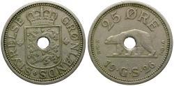 World Coins - Greenland holed 25 Ore / Polar Bear