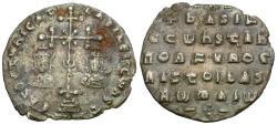 Ancient Coins - *Sear 1810* Byzantine Empire. Basil II (AD 976-1025) Bulgaroktonos with Constantine VIII (AD 977-989) AR Miliaresion