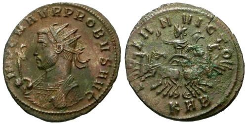Ancient Coins - VF/VF Probus Antoninianus / Sol in Spread Quadriga
