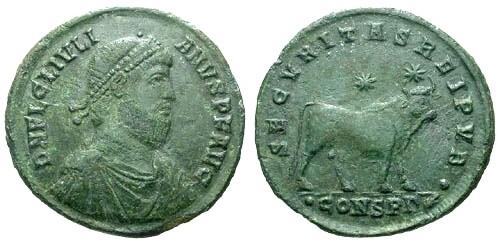 Ancient Coins - VF/VF Julian The Apostate AE1 / Apis Bull