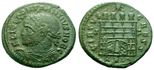 Ancient Coins - aVF/VF Constantius II as Caesar AE3 / Campgate with open doors