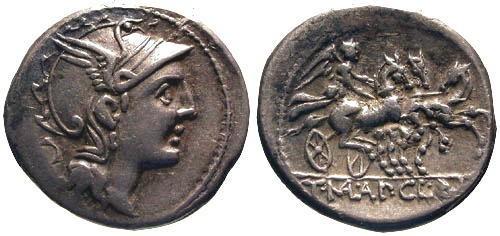 Ancient Coins - 111-110 BC / gVF/gVF Mallia 2 Roman Republic Denarius / Victory in triga