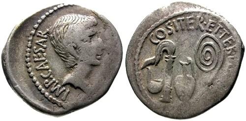 Ancient Coins - aVF/aVF Octavian AR Denarius / Priestly implements